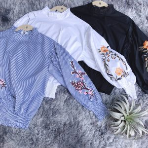 High Collar Flower Long Sleeve Top